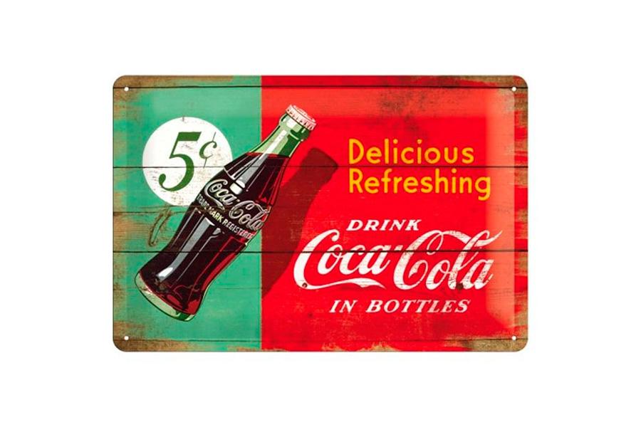 Cartel de chapa retro coca cola in botles 20 30 cm zap - Chapa coca cola pared ...