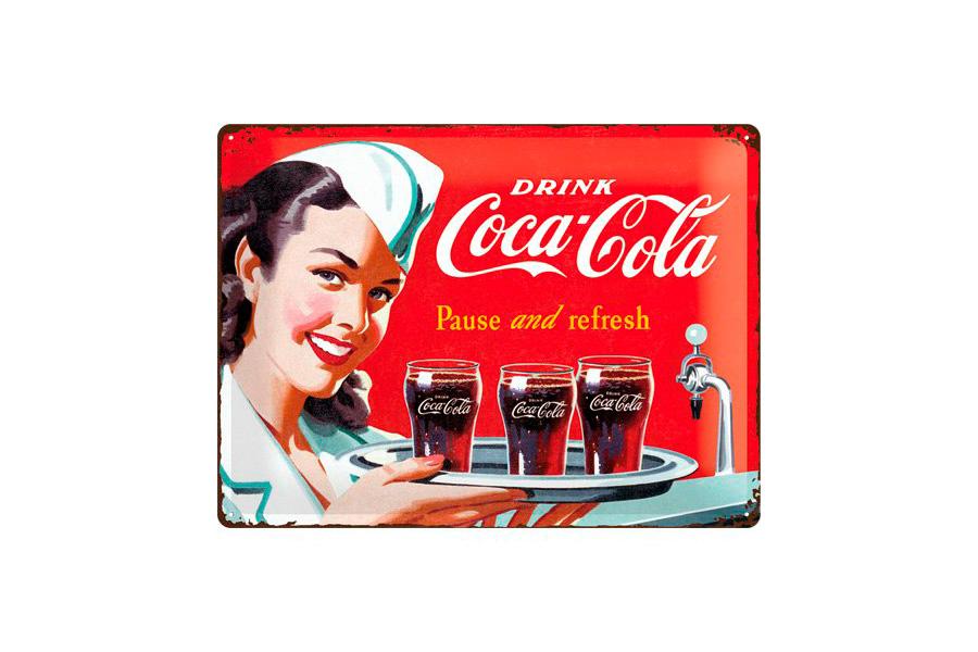Cartel de chapa retro coca cola 30 40 cm zap zap - Chapa coca cola pared ...