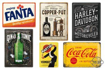 cartel-chapa-anuncios-antiguos-fanta-coca-cola-martini-harley